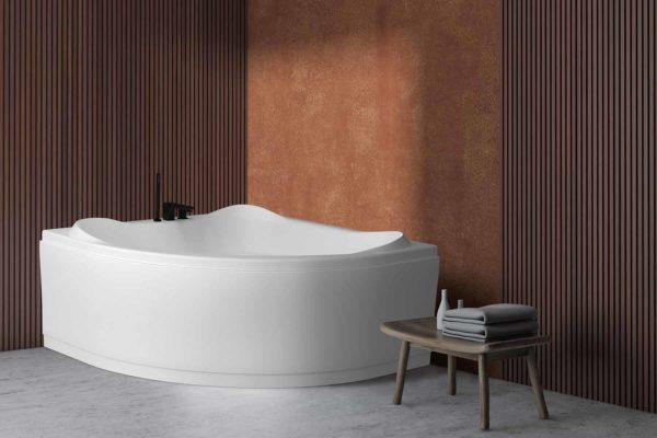 Lagune badekar fra Interform. Terracotta vegg med spiler. Lunt og koselig miljø. Svart matt Vega armatur.