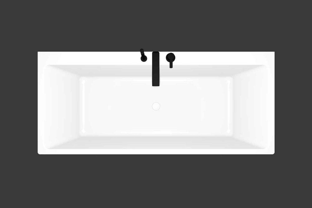 Mime helstøpt badekar fra Interform med Vega svart armatur. Mime sett ovenfra
