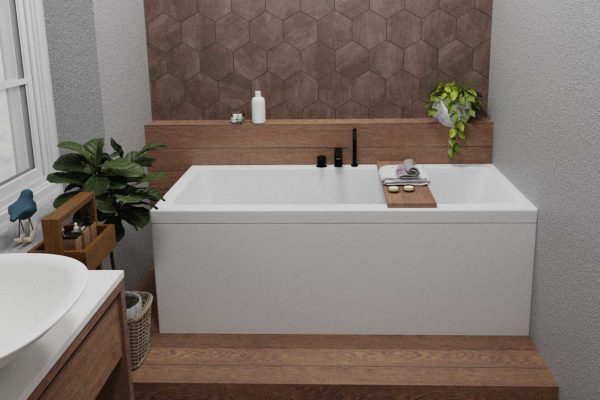 Nemo 170 badekar i hvit matt med Vega svart matt armatur. hexagon og fliser i staver med treimitasjon. Grønne planter og vindu med utsikt mot hagen