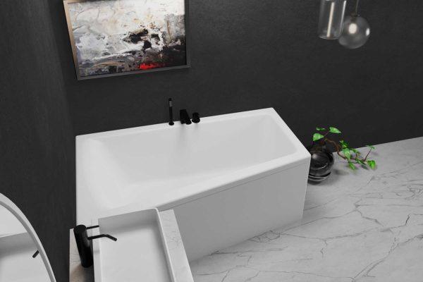 Nemo 160 hvit matt (venstre). Mørk vegg og lyst marmor gulv. Hvit servant med svarte armaturer.