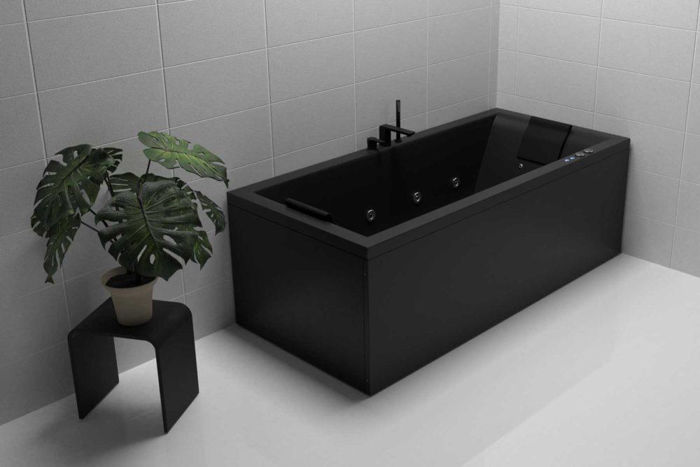Nemo 180 svart matt badekar. Lyst gulv og lyse flis. Svart matt karkantarmatur og krakk