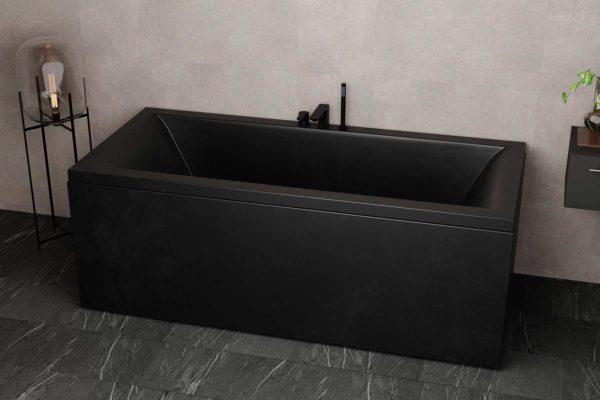 Nemo 180 svart matt badekr i akryl. Armatur i svart matt Mørke fliser