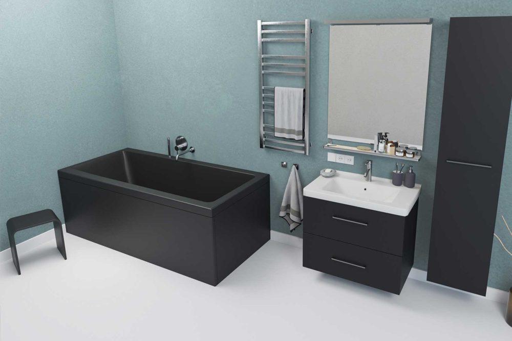 Nemo 170 badekar i svart matt akryl. Svart Interform krakk. Svarte møbler og krom armatur. Firsk lys turkis vegg og lyst gulv