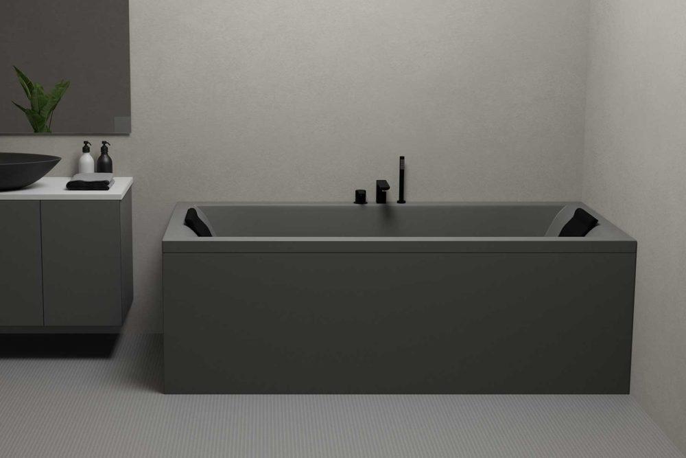 Nemo 190 grå matt badekar i grå omgivelser, svarte armaturer og servant. Lekkert rektangulært speil.