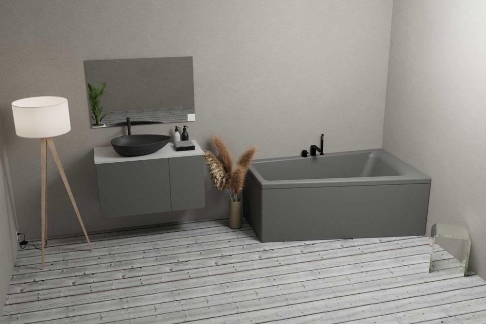 Nemo 160 grå (høyre) er et moderne og stilig akrylbadekar i grå matt. Lyst tregulv. Svart matt armatur.