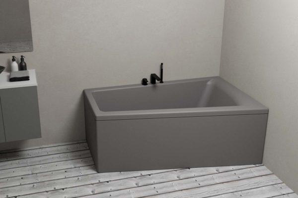 Nemo 160 grå (venstre) er et moderne og stilig akrylbadekar i grå matt. Lyst tregulv. Svart matt armatur. Pampas i vase. Grå innredning og svart servant med svart armatur.
