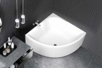Njord badekar fra Interform. Grå vegg og betong guv og servant. Spiler og moderne uttrykk.