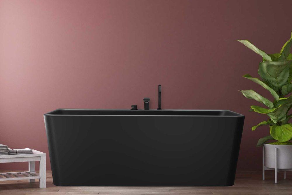 Saga Svart Back To Wall er et stilrent badekar i silkemyk, matt kompositt. Den ergonomiske utformingen gjør det svært behagelig å sitte i. God plass for å montere armatur på badekaret. Leveres med klikkventil og justerbare ben. tregulv og nydelig burgunder veggfarge. Stor potteplante.