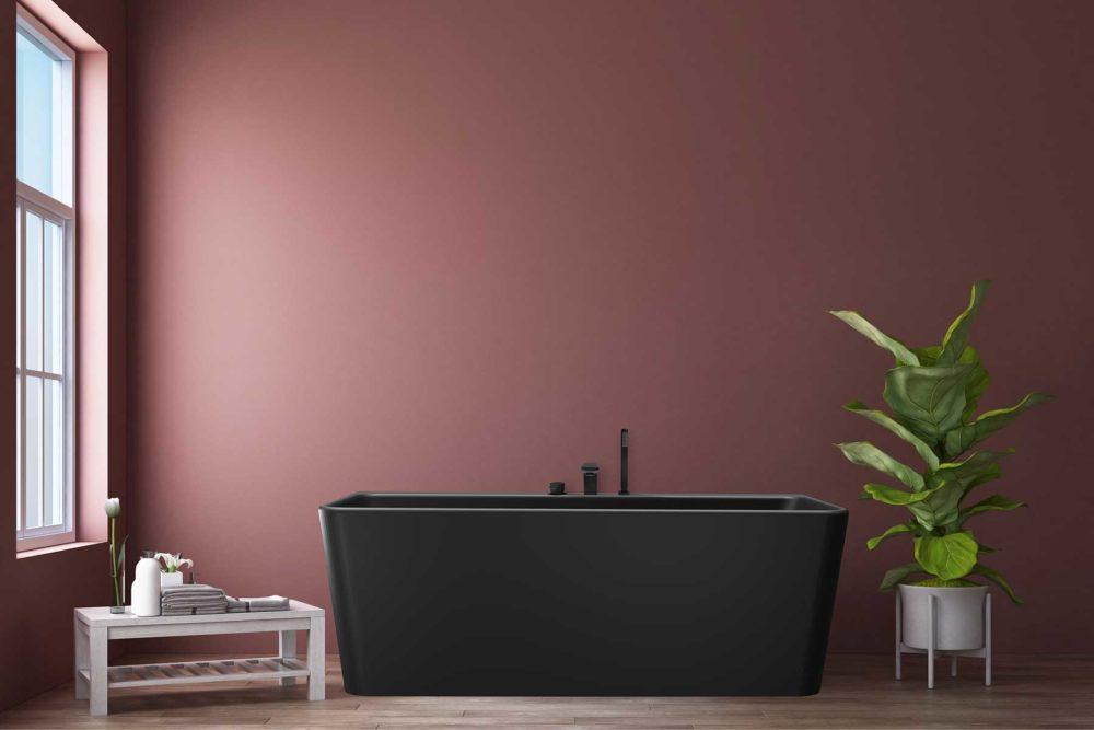 Saga Svart Back To Wall er et stilrent badekar i silkemyk, matt kompositt. Den ergonomiske utformingen gjør det svært behagelig å sitte i. God plass for å montere armatur på badekaret. Leveres med klikkventil og justerbare ben. tregulv og nydelig burgunder veggfarge. Stor potteplante. Utiskt fra badekaret.