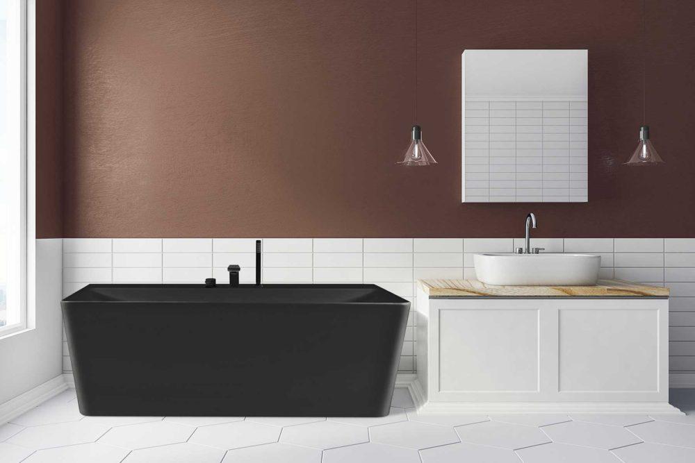 Saga Svart Back To Wall er et stilrent badekar i silkemyk, matt kompositt. Den ergonomiske utformingen gjør det svært behagelig å sitte i. God plass for å montere armatur på badekaret. Leveres med klikkventil og justerbare ben. Lyse gulv og veggflis. Nydelig bronse veggfarge