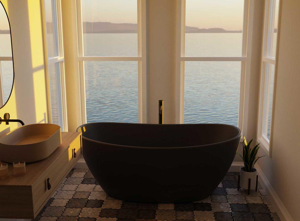 Viena badekar i grå matt utførelse. nydelig utsikt over fjorden med soloppgang.